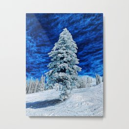A snow tree in blue Metal Print