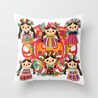 mexican Throw Pillows featuring Mexican Dolls by Alapapaju