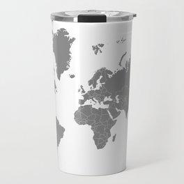 Minimalist World Map Gray on White Background Travel Mug