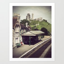 Corfe Castle Railway Station Art Print