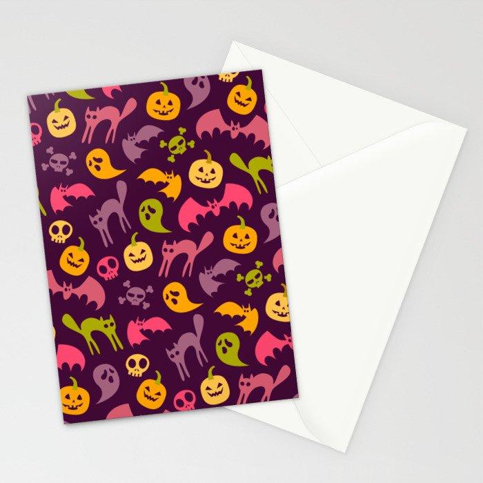 Neon Halloween Pattern - Purple Background Stationery Cards