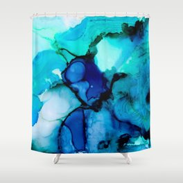 Booming Turquoise Shower Curtain