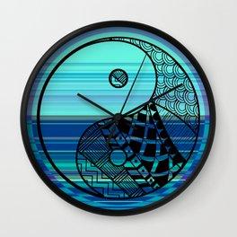 Yin Yang Zentangle on Blue Stripes Wall Clock