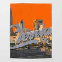 Cleveland Ohio City Skyline Home Fan OH Print Poster