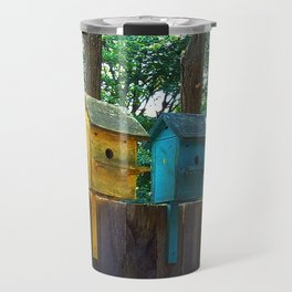 Bird Houses on a Fence Travel Mug