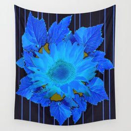 Decorative Blue Flowers Black floral Design Wall Tapestry