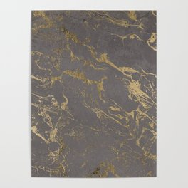 Modern Grey cement concrete gold marble pattern Poster