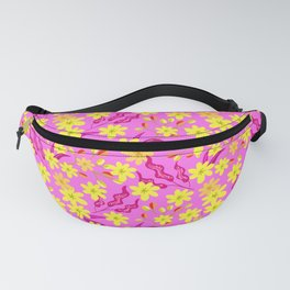 Beautiful spring yellow flowers, delicate leaves floral fabric baby pink pattern. Fantasy garden Fanny Pack