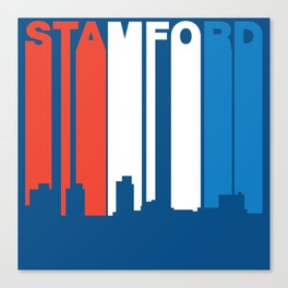 Red White And Blue Stamford Connecticut Skyline Canvas Print
