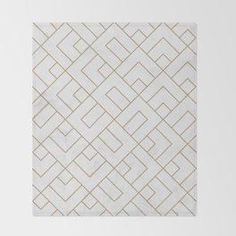 Golden Marble Square Floor Pattern Throw Blanket