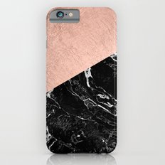 Bold modern rose gold black marble color block Slim Case iPhone 6s