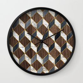 Cube Pattern Wood And Marble Wall Clock