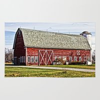 wisconsin Area & Throw Rugs featuring Wisconsin Old Barn 4 by Photography By MsJudi