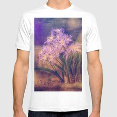 Flowers on the edge of the road White Mens Fitted Tee MEDIUM