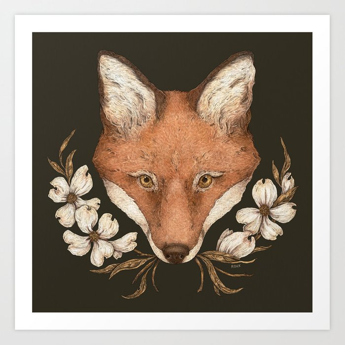 The Fox and Dogwoods Art Print