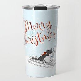 Christmas Cats on the Sleigh Travel Mug