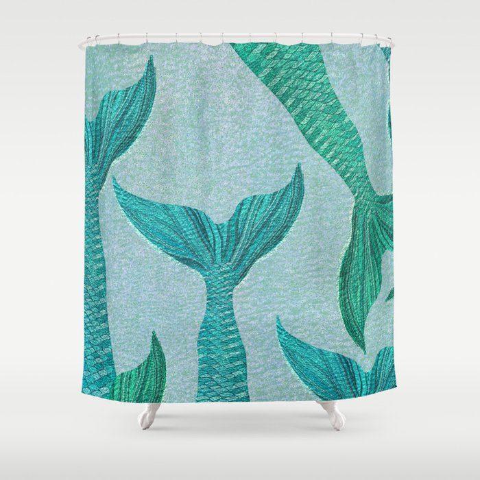 Mermaid Tails In Aquamarine Sea Shower Curtain