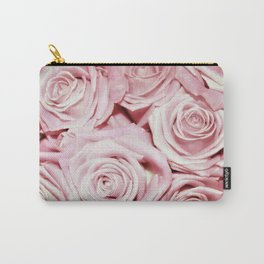 Beautiful bed of pink roses - Floral Rose Flowers Carry-All Pouch
