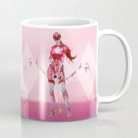 power ranger Mugs featuring Pink Ranger by Isaiah K. Stephens
