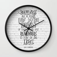 dumbledore Wall Clocks featuring Albus Dumbledore Quote Inspirational by Go Art
