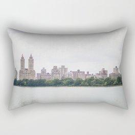 Monochromatic - New York City Central Park, Architecture Landscape, Cloudy City Skyline Photography Rectangular Pillow