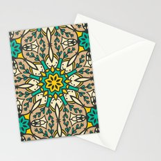 Abstract Mandala Flower Pattern - Brown, Yellow and Green Stationery Cards