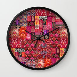 Epic Bohemian Moroccan Traditional Collage Artwork. Wall Clock