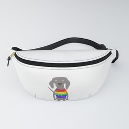 Weim Pride Flag Grey Ghost Weimaraner Dog Hand-painted Pet Drawing Fanny Pack