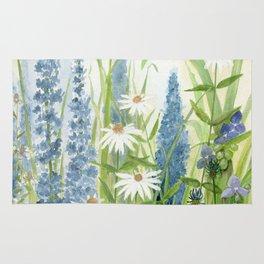 Watercolor Botanical Garden Flower Wildflower Blue Flower Garden Rug