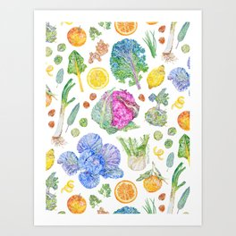Winter Harvest Pattern White Art Print