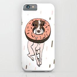 Peach Choco Iggy Dog wearing a Glazed Donut with Sprinkles - Doggy Doughnut - Kawaii Dessert Whippet iPhone Case