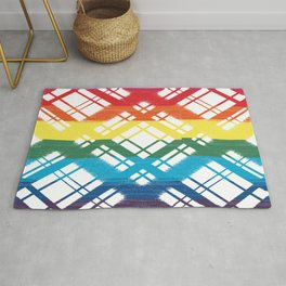 Pride Flag Chalk Design on Plaid Graphic Design Rug