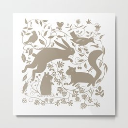Woodland Creatures - Gray Metal Print