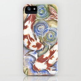 Koi Fish Watercolor Painting iPhone Case