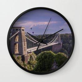 Clifton Suspension Bridge and hot air balloons Wall Clock
