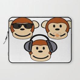 Illustration of Cartoon Three Monkeys - See, Hear, Speak No Evil Laptop Sleeve