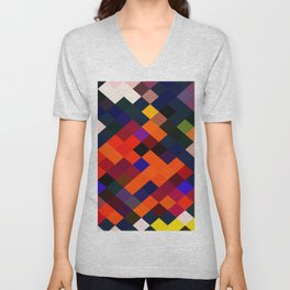 geometric square pixel pattern abstract in orange brown blue yellow Unisex V-Neck