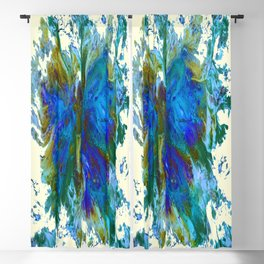 Butterflies are free in teal, blue, green and cream Blackout Curtain