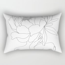 Minimal Line Art Woman Flower Head Rectangular Pillow