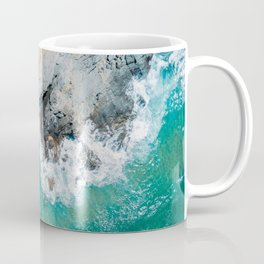 Ocean Waves Crushing, Drone Photography, Aerial Landscape Photo, Large Printable Photography, Ocean Coffee Mug