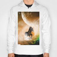 running Hoodies featuring Running horse by nicky2342