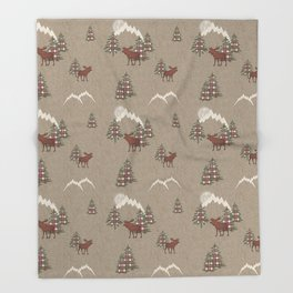 Moose and Mountains Pattern Throw Blanket