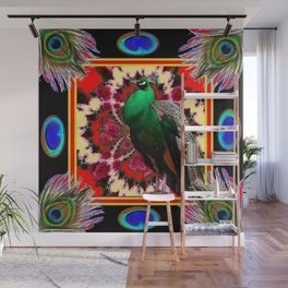 GREEN PEACOCK & FEATHERS RED-BLACK ART Wall Mural
