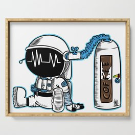 Coffee fueled astronaut Serving Tray