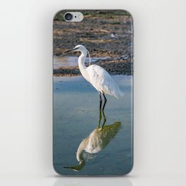 The image of a Little Egret reflected in the water of a pond iPhone Skin
