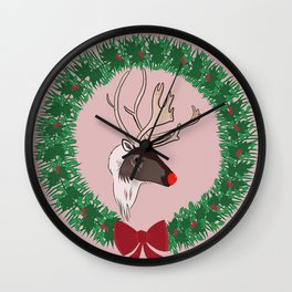 Rudolph Brings You Those Christmas Presents Wall Clock