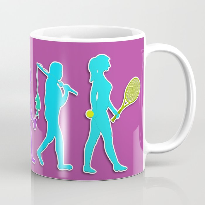 Woman Evolution of the Species to Tennis Player Coffee Mug