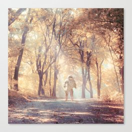 Astronaut In Autumn Forest Canvas Print