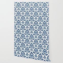 Feuille Damask Pattern Dark Blue on White Wallpaper