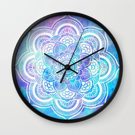 Mandala Pink Lavender Aqua Galaxy Space Wall Clock